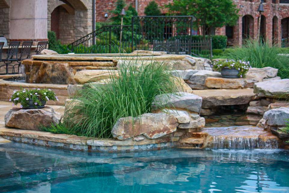 Landscape and water feature around In-ground pools and spas in Nashville, Franklin, Clarksville TN