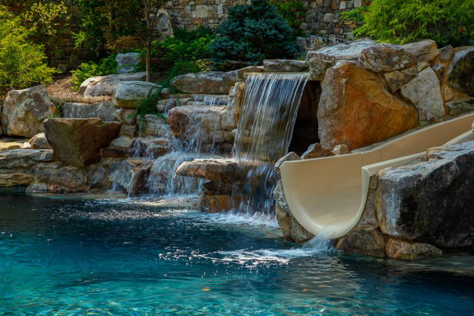 Waterfall and water slide into In-ground pools and spas in Nashville, Franklin, Clarksville TN