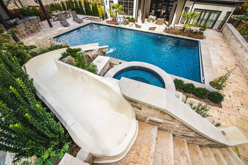 Backyard slide into In-ground pools and spas in Nashville, Franklin, Clarksville TN